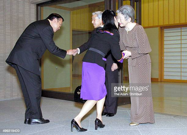 Thai Princess Chulabhorn Walailak is welcomed by Emperor Akihito and Empress Michikoon October 1 2007 in Tokyo Japan