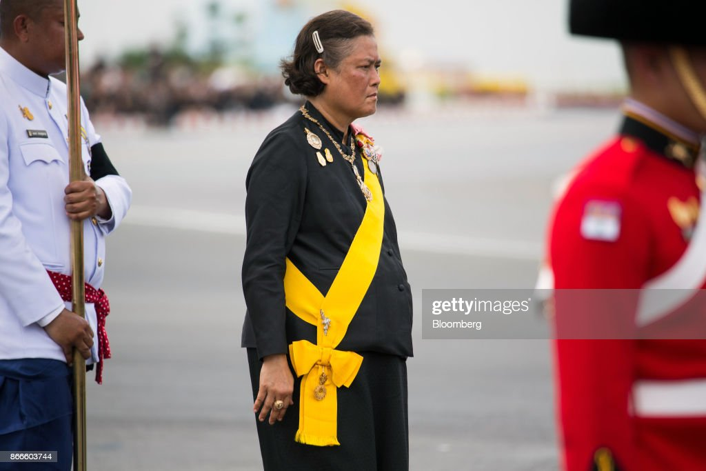 Thai Princess Maha Chakri Sirindhorn attends the cremation procession for the late King Bhumibol Adulyadej at Sanam Luang ceremonial ground in Bangkok, Thailand, on Thursday, Oct. 26, 2017. The elaborate, $90 million royal cremation ceremony for Bhumibol brought the nation to a standstill, as mourners bid a final farewell to a monarch who reigned for seven decades. Photographer: Taylor Weidman/Bloomberg via Getty Images