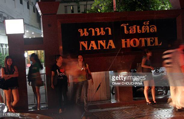 Thai prostitutes wait for customers in the street of Soi Nana on Sukhumvit road a notorious hang out for foreigners looking for prostitutes on June...
