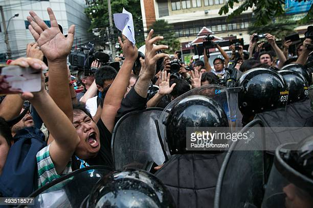 Thai protesters vent their anger at the Thai military during an anticoup protest on the second day of Thailand's military coup May 24 2014 in Bangkok...