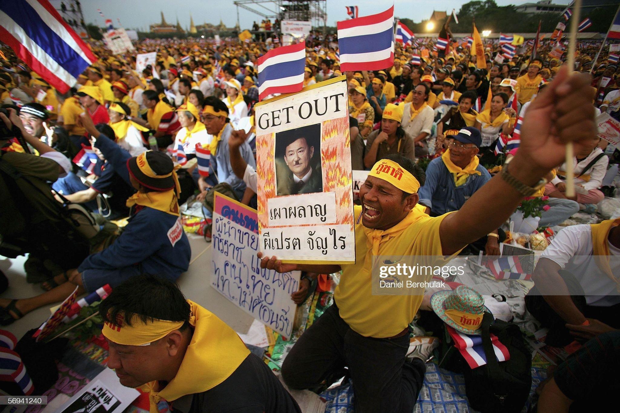 Protestas contra Thaksin Shinawatra en Bangkok, 26 de febrero de 2006 | Fuente: Daniel Berehulak / Getty Images