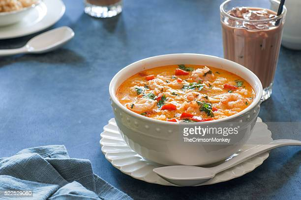 Thai Red Curry and Coconut Soup With Shrimp