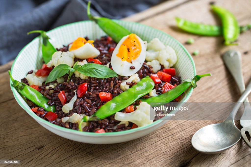 Thai Rice berry with Boiled egg  and Snow pea salad : Stock Photo