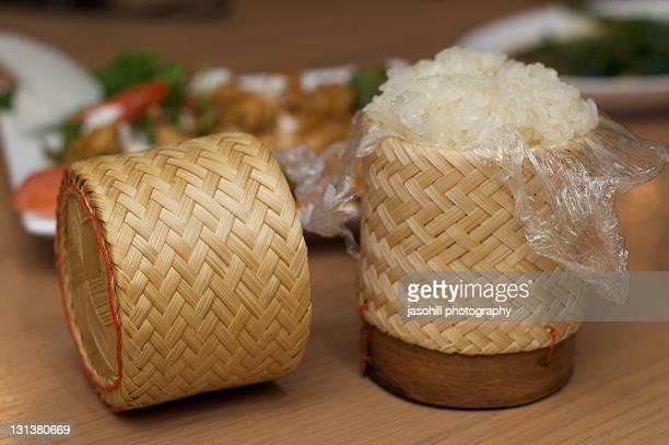 thai rice in traditional thai rice holder - 盛岡市 ストックフォトと画像