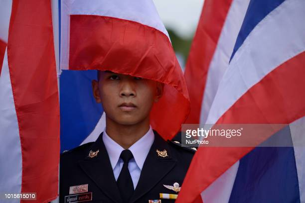 Thai Royal Army members stand to attention during celebrate the Queens Sirikit' 86th birthday in Bangkok Thailand 12 August 2018