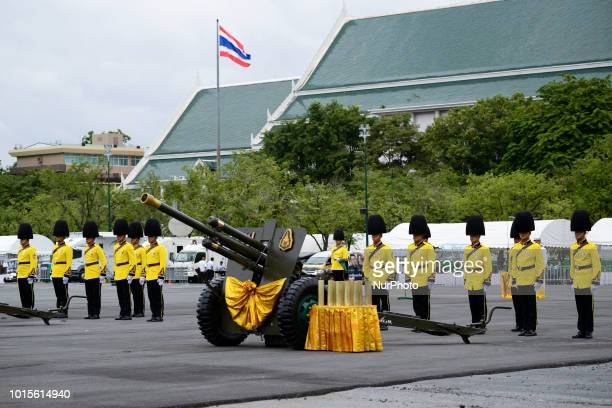 Thai royal guards salute during the celebrate the Queens Sirikit' 86th birthday at Sanam Luang in Bangkok Thailand 12 August 2018