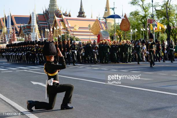 Thai royal guards seen during a rehearsal of the land procession for the King's coronation ceremony in Bangkok Thailand 28 April 2019