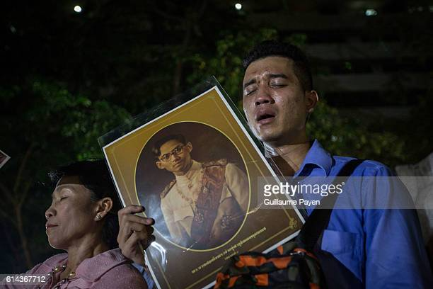 Thai Royalists and well-wishers reacts to the death of Thailand's King Bhumibol Adulyadej at Siriraj hospital announced by the Thai Palace. Thai King...