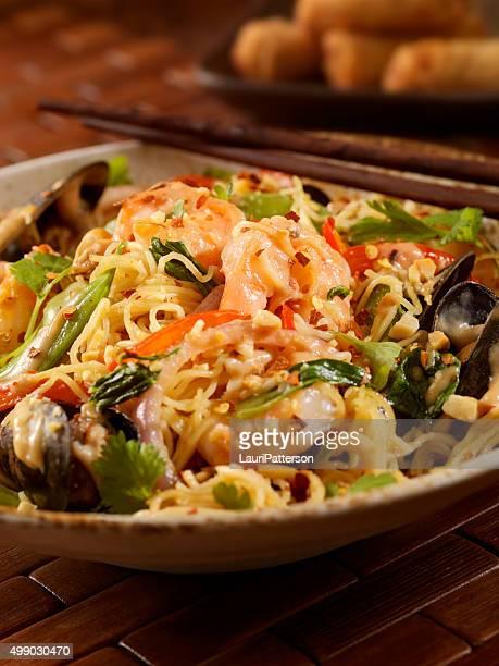 Thai, Seafood Noodle Stir fry with Peanut Sauce