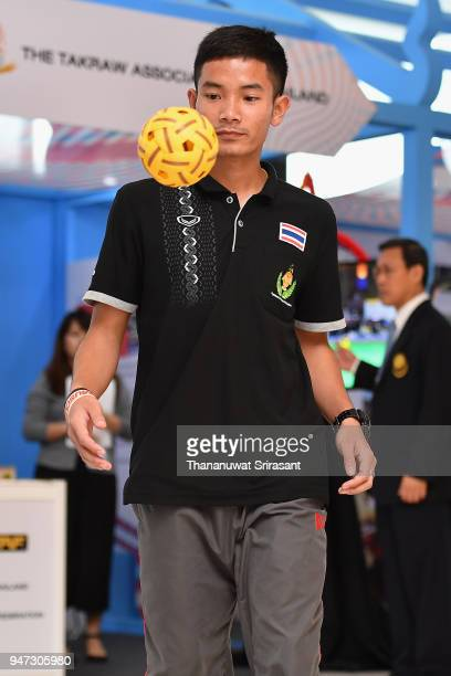 Thai sepaktakrow player demostrates at the exhibition area on day three of the SportAccord at Centara Grand Bangkok Convention Centre on April 17...