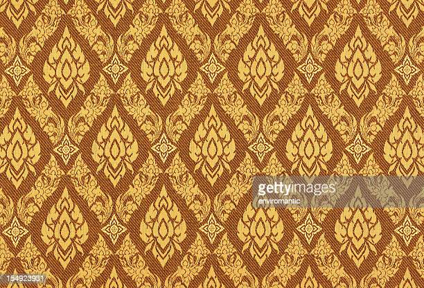 thai silk traditional motif background. - thailand stock pictures, royalty-free photos & images