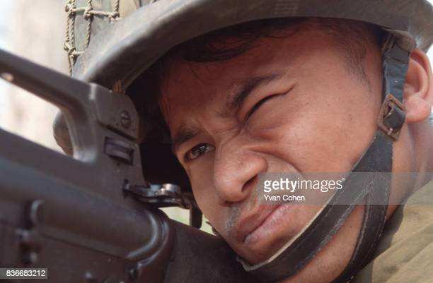 Thai soldier guarding the ThaiBurma border in Mae Sot province in North West Thailand