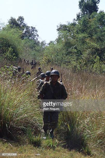 Thai soldiers march along the ThailandCambodian border during the Vietnamese occupation of Cambodia