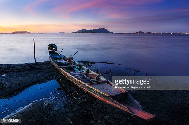 Thai Southern Fishing Boat at Sunrise, Songkhla, Thailand.