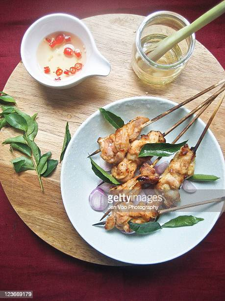 Thai spicy roasted chicken satay