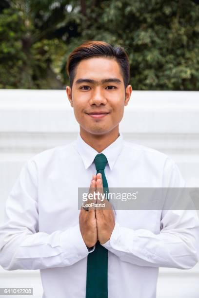 Portrait des étudiants thaïlandais en uniforme d'université à Bangkok