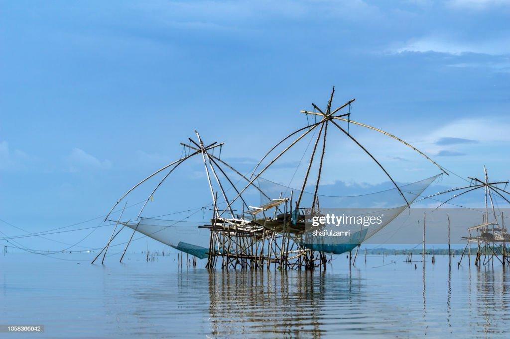 Thai style fishing trap in Pak Pra Village of lake Thale Noi, Phatthalung, Thailand. : Stock Photo