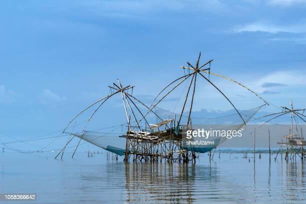 Thai style fishing trap in Pak Pra Village of lake Thale Noi, Phatthalung, Thailand.