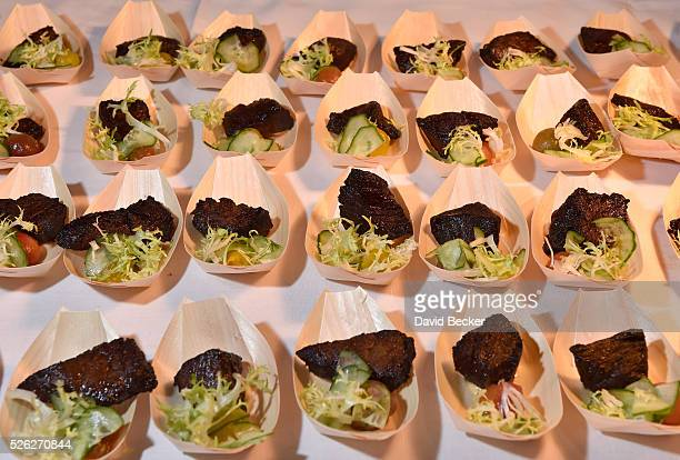 Thai style marinated snake river farms wagyu beef is served at the Andrea's booth during Vegas Uncork'd by Bon Appetit presented by Chase Sapphire...