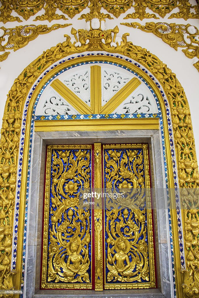 Thai temple window : Stock Photo