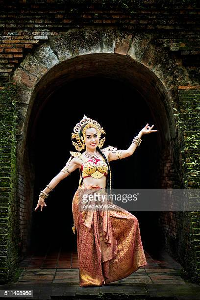 thai traditional costume - apsara stock photos and pictures