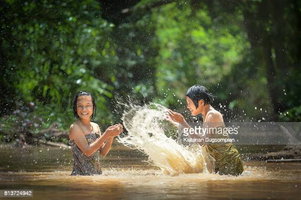 thai traditional game - very young thai girls stock photos and pictures