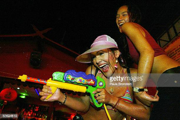 Thai transexuals celebrate Songkran the Thai New year April 13 2005 in the Tsunami effected area of Patong Thailand The three day celebration is also...