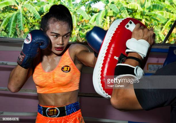 Thai transgender boxer Nong Rose sparring at the Ban Charoensuk gym where she trains in Cholburi province Nong Rose whose real name is Somros...
