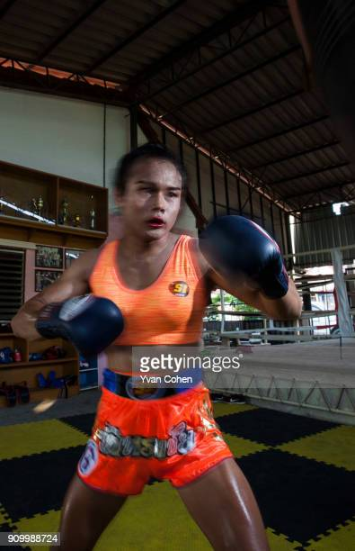 Thai transgender boxer Nong Rose training at the Ban Charoensuk gym where she trains in Cholburi province Nong Rose whose real name is Somros...