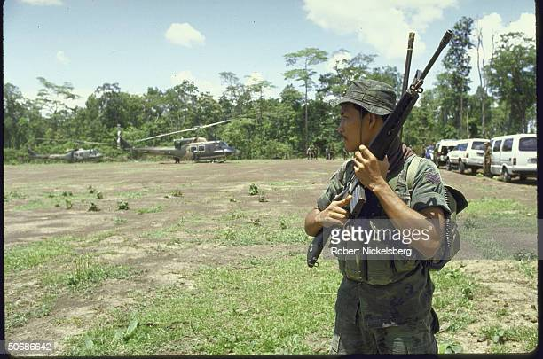 Thai troops patrolling during counteroffensive against invading Vietnamese troops that are trying to disrupt supply routes of Cambodia's Khmer...