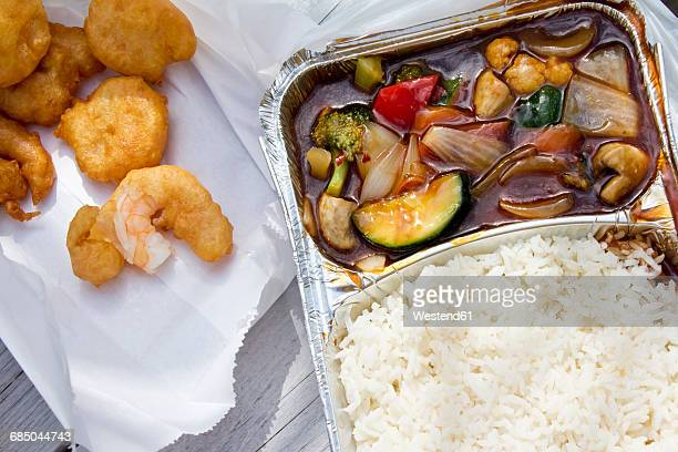 Thai vegetables with rice and deep fried in aluminium tray