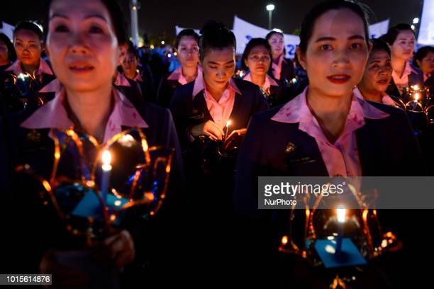 Thai well wishers light candles during celebrate the Queens Sirikit' 86th birthday in Bangkok Thailand 12 August 2018