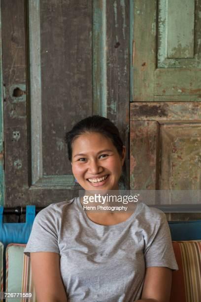Thai woman smiling at camera