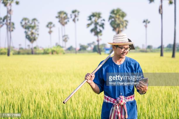 thai young farmers looking at cellphone - asian farmer stock-fotos und bilder