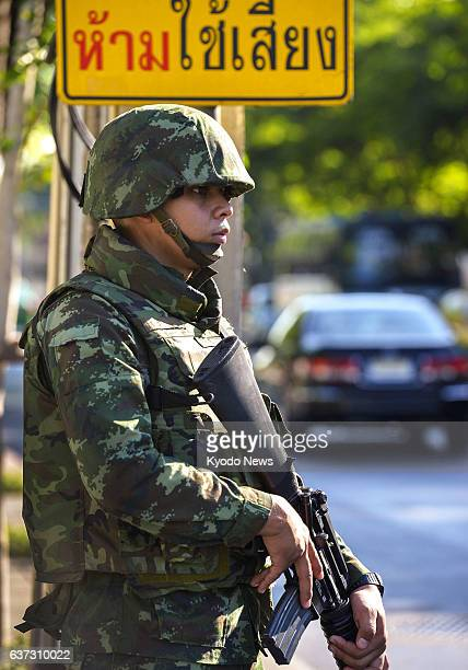 BANGKOK Thailand A Thai soldier stands guard in Bangkok on May 23 a day after the military staged a coup ousting the caretaker government scrapping...