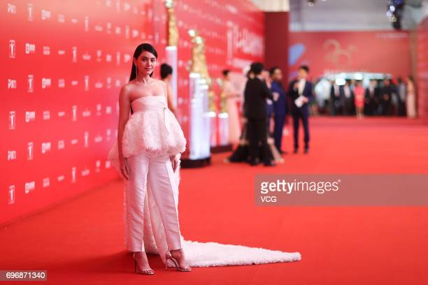 Thailand actress Davika Hoorne arrives at the red carpet of the 20th Shanghai International Film Festival on June 17 2017 in Shanghai China