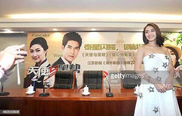 Thailand actress Min Pechaya Wattanamontree promotes her new TV series Pin Anong and Nang Fah Gup Mafia on December 16 2014 in Nanjing Jiangsu...