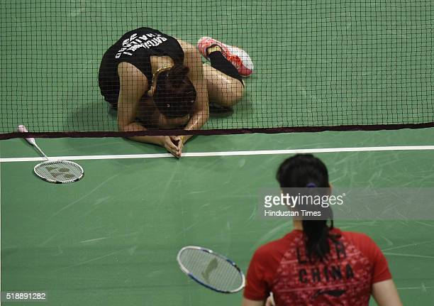 Thailand Badminton player Ratchanok Intanon reacts after winning the match against Chinese Badminton player Li Xuerui at women's final match during...