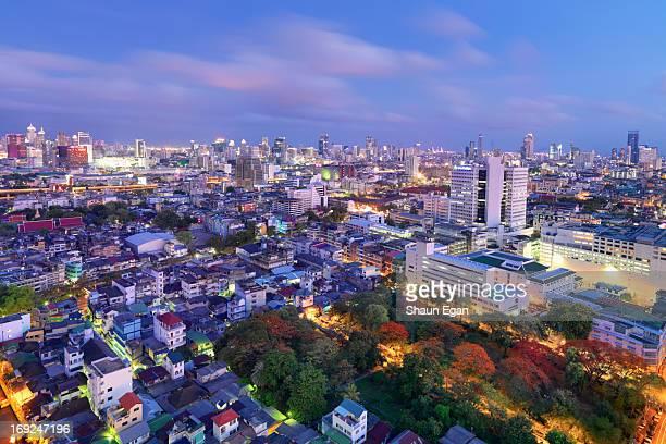 Thailand, Bangkok, elevated view of city at dusk