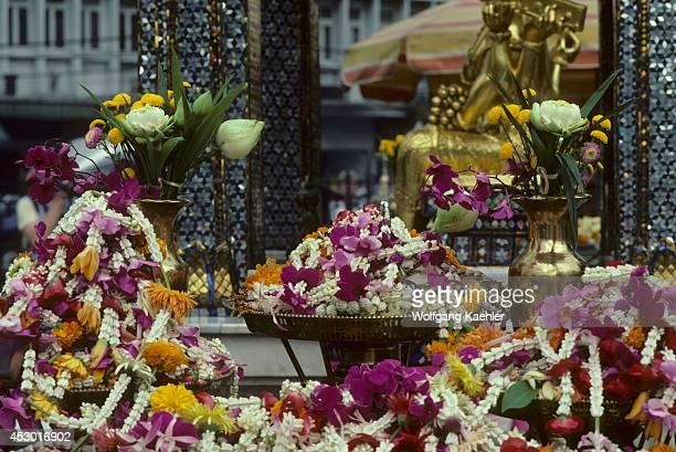 Thailand, Bangkok, Erawan Shrine, Offerings Of Flower Garlands.