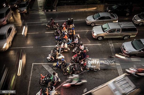 Thailand, Bangkok, High angle view of traffic jam