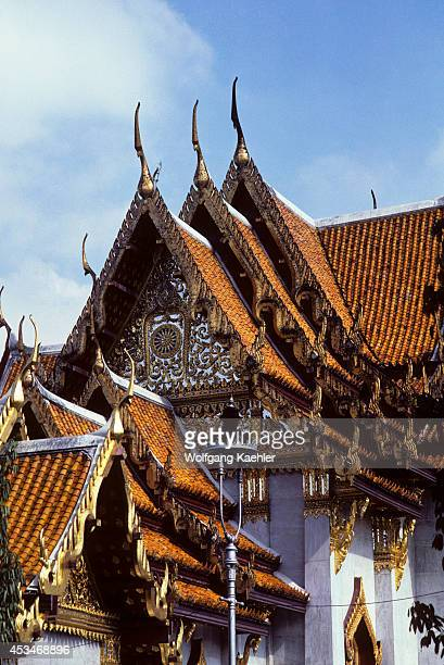 Thailand Bangkok Marble Temple Pediment Roof Architecture