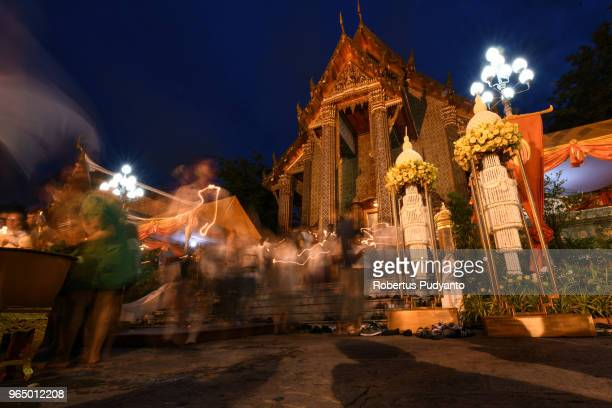 thailand buddhists celebrate the vesak day 2562 be - buddha's birthday stock pictures, royalty-free photos & images