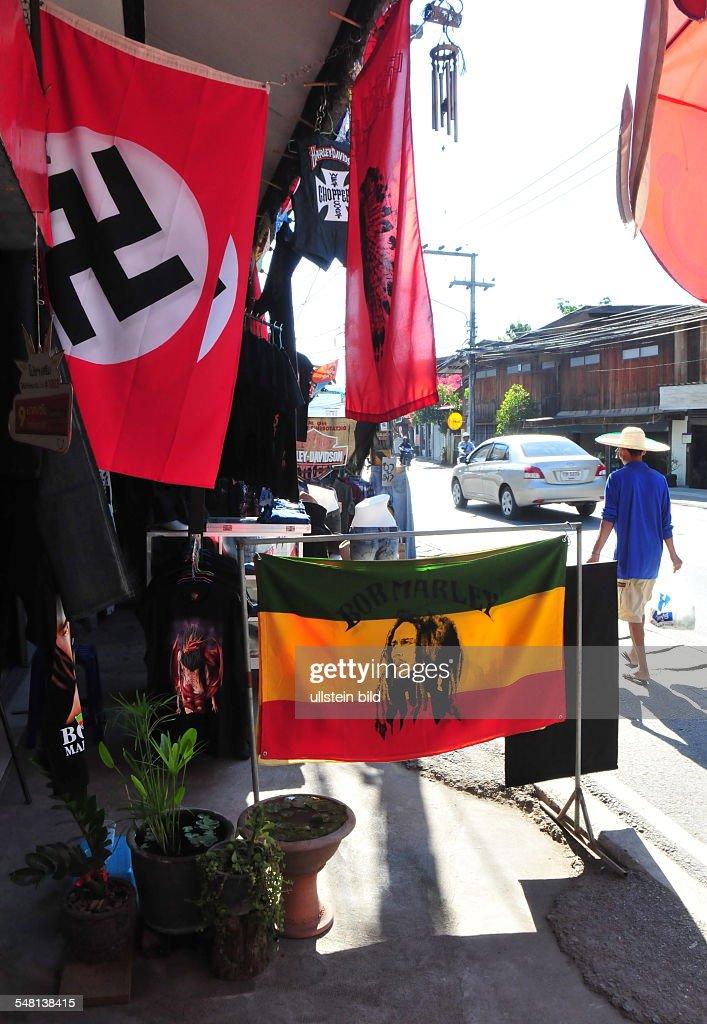 Thailand Chiang Mai Borsang (Bo Sang) - street vendor is selling flags with swastika : News Photo