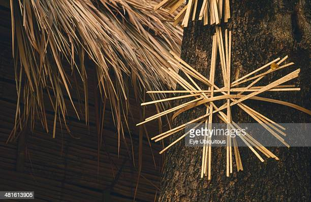 Thailand Chiang Mai Province Da Leh Akha village Bamboo taboo sign used to drive out spirits and prevent their return