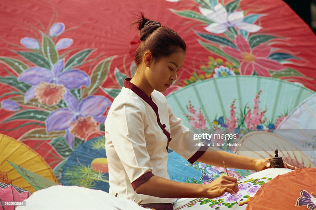 Thailand, Chiang Mai, Umbrella Painting : Stock Photo