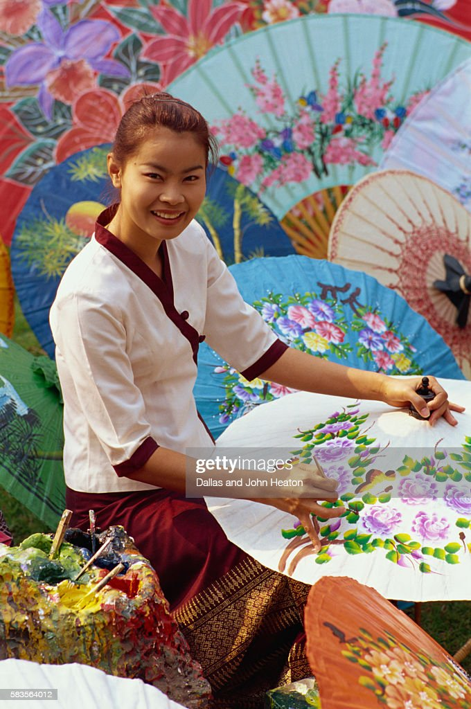 Thailand, Chiang Mai, Umbrella Painting : Stock Photo