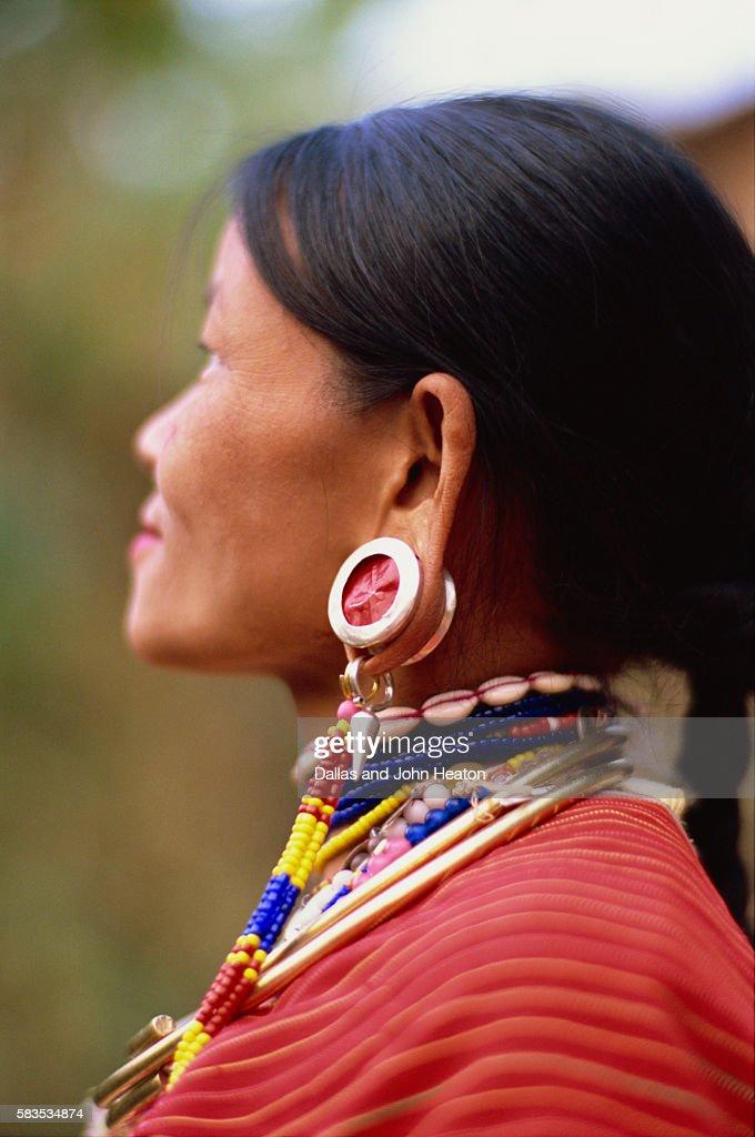 Thailand, Chiang Rai, Big Ear Hilltribe, Woman : Stock Photo
