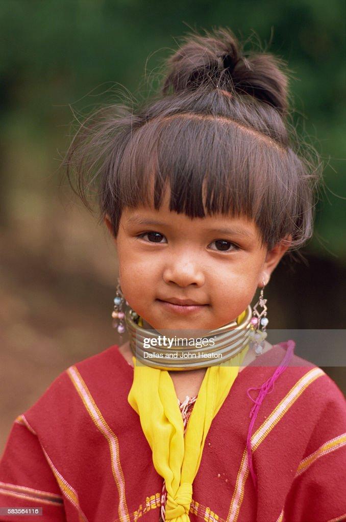 Thailand, Chiang Rai, Long Neck Hilltribe, Child : Stock Photo