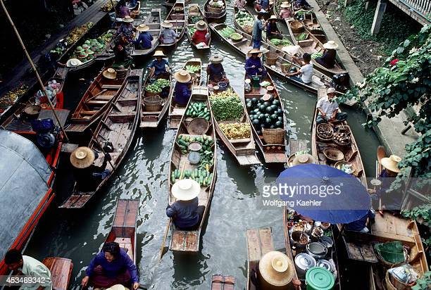 Thailand Damnern Saduak Floating Market On Canal Boats With Local Food Produce Other Goods
